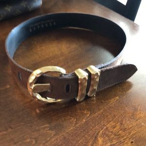 Gold and brown genuine leather belt